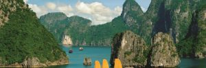 Traditional boats in Halong Bay in Vietnam