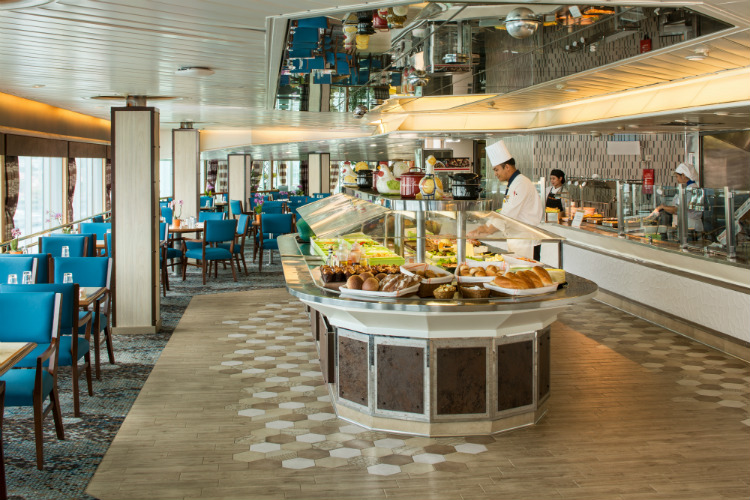 The elegant Lido restaurant on-board HAL ms Oosterdam