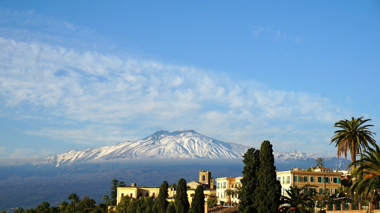 Mount Etna rising above the horizon in Sicily