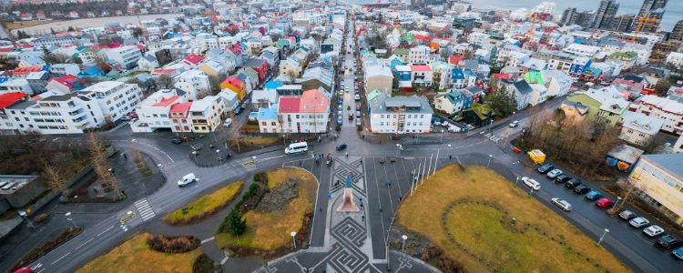 Reykjavik seen from the top of Hallgrimskirkja Church during a cruise to Iceland