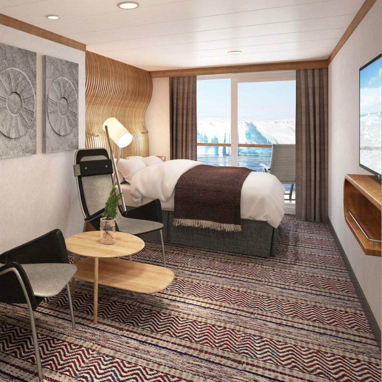 A spacious Arctic Superior Cabin on-board MS Roald Amundsen