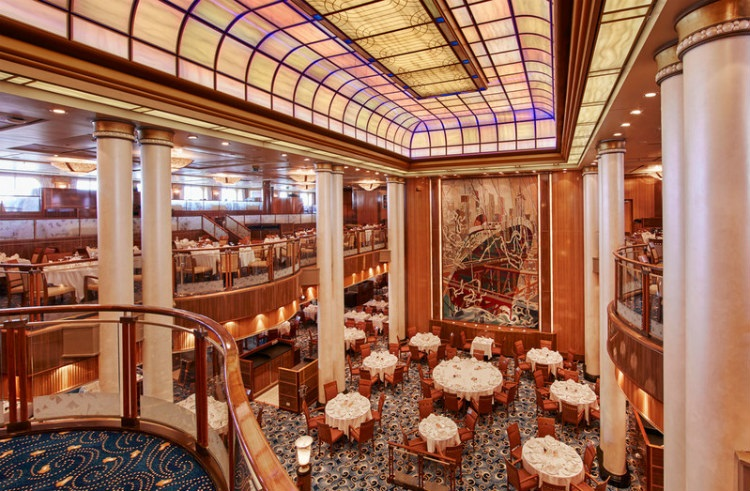 The opulent Britannia restaurant on-board Cunard's Queen Mary 2