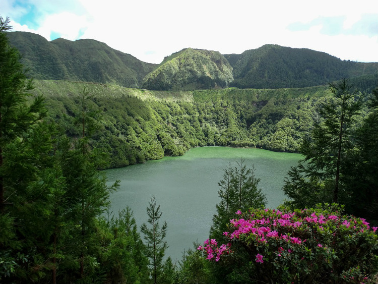 Caldeira das Sete Cidades in Sao Miguel surrounded by lush trees