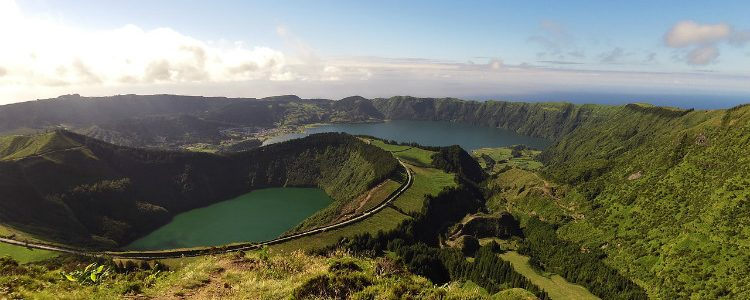 The twin crater lakes of Caldeira das Sete Cidades in Sao Miguel