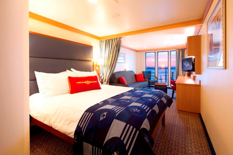 A welcoming Oceanview Stateroom on Disney Magic