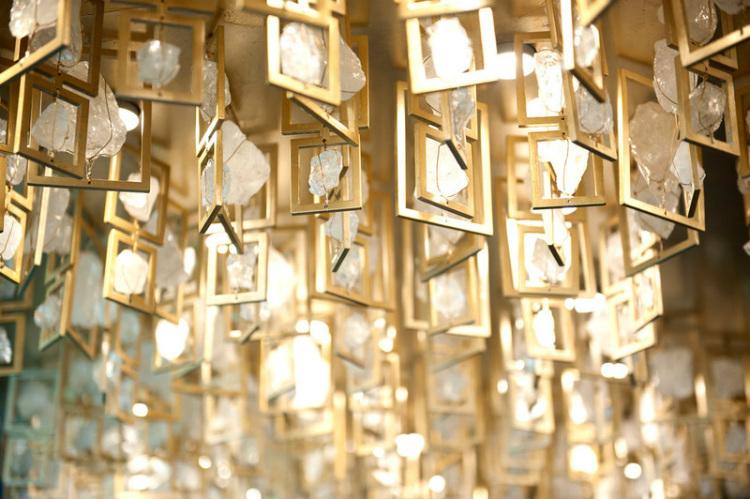 Shining gold decor in the Crow's Nest bar on-board PO Britannia