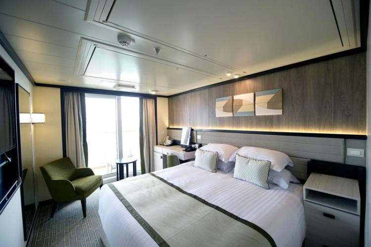An elegant Outside cabin on PO Cruises' Britannia cruise ship