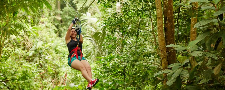A woman on a zip line excursion through the rainforest on a Princess cruise