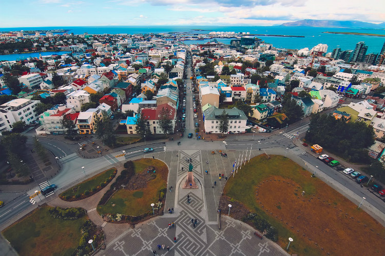 The colourful roofs of buildings in Iceland seen from the top of Hallgrimskirkja church