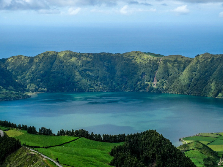 The famous Sete Cidades volcanic crater in the Azores
