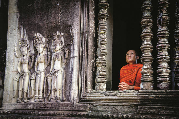 Finest Collection - Monk at Angkor Temple