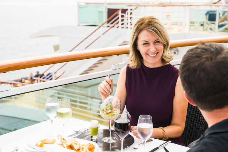 Couple enjoying lunch aboard P&O