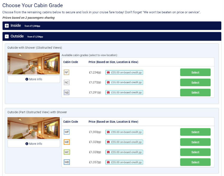 Online booking - Cabin grades - Cruise118
