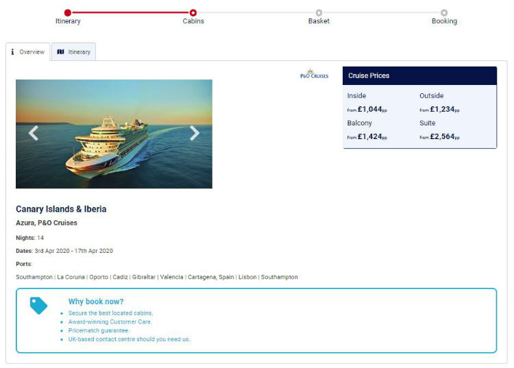 Online booking journey - Cruise118.com