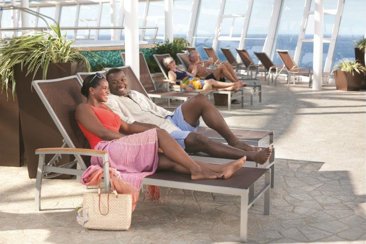 Couple in the Solarium - Royal Caribbean
