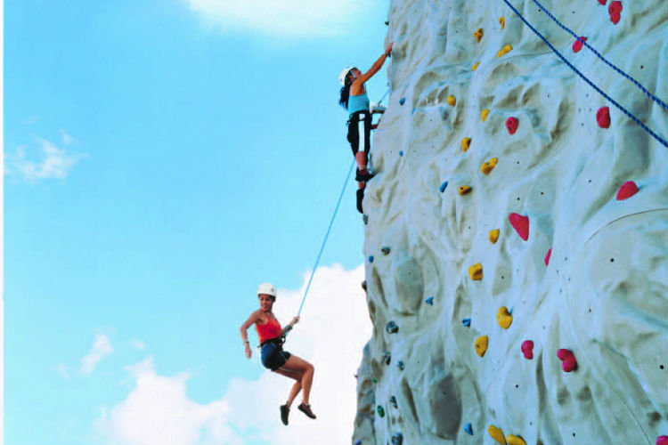 Rock-climbing on Royal Caribbean