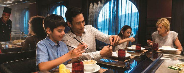 Family dining in Izumi on-board Royal Caribbean