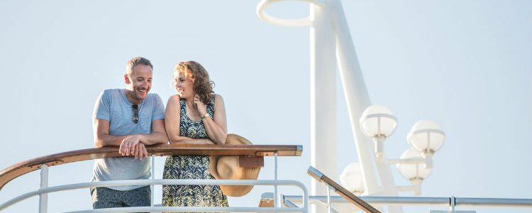 Couple on balcony on P&O Cruises