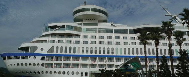 Cruise ship on land