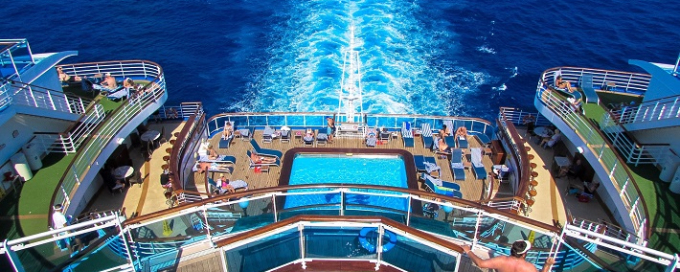 The sea seen from the swimming deck on-board Crown Princess