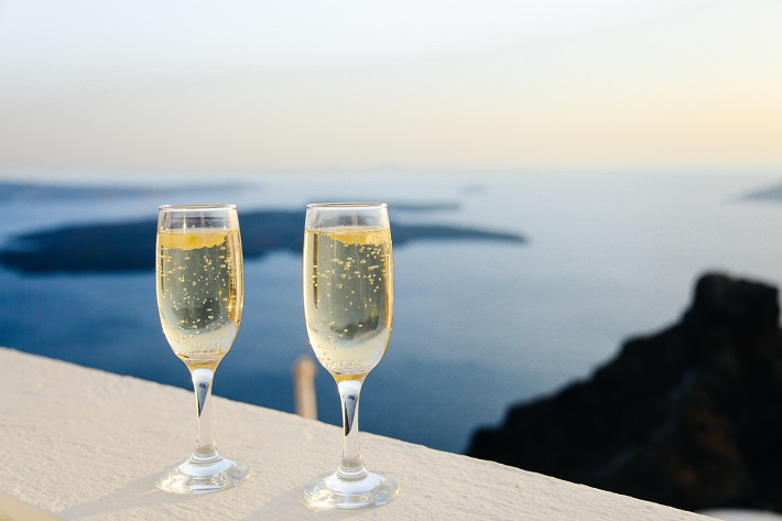 Glasses of Lauren-Perrier champagne on a Cunard cruise