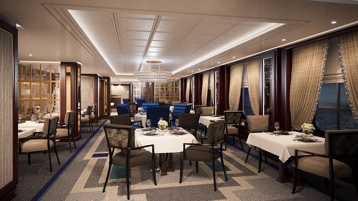 The refurbished dining room on-board Cunard's Queen Mary 2