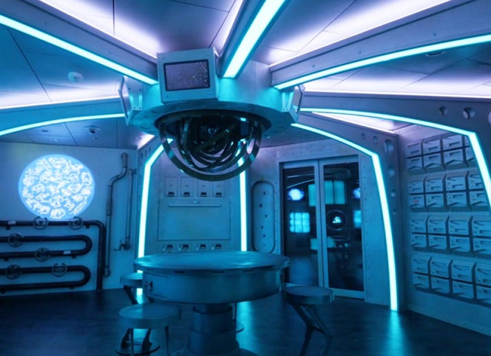 Futuristic room in the Escape Room experience on-board Royal Caribbean Independence of the Seas cruises