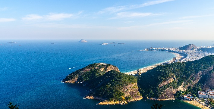 Panoramic view over lush cliffs in Rio de Janeiro