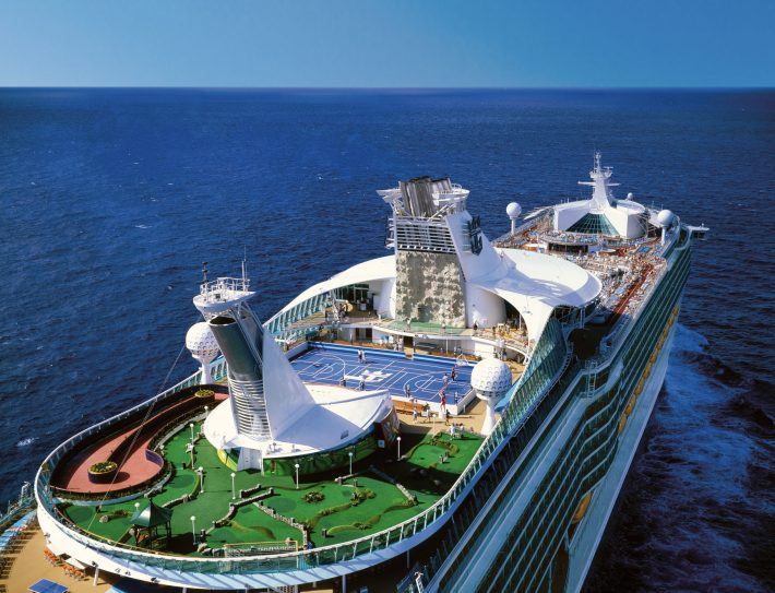 The top deck of Royal Caribbean's Adventure of the Seas cruise ship on the sea