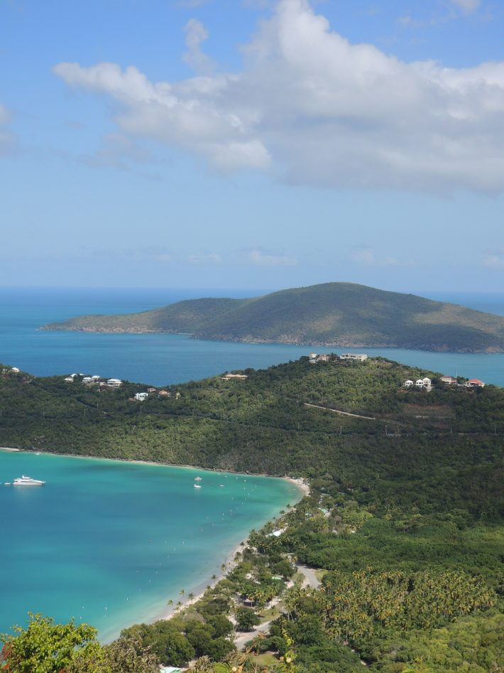 The lush hills and bright blue seas of the Caribbean island of St Thomas