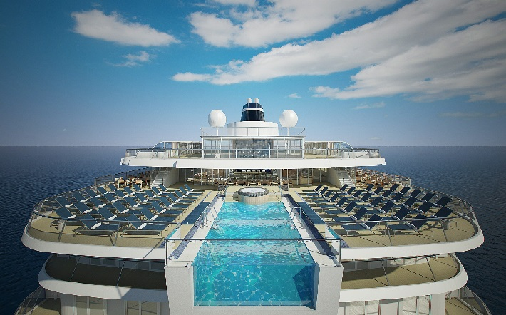 The pool deck and sun loungers on Viking Orion