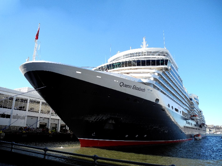 Exterior of Cunard's Queen Elizabeth cruise ship as she sits in port in Alaska