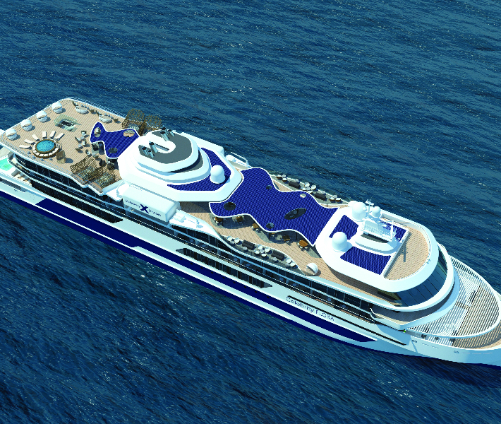 Top view of the Celebrity Flora ship - Celebrity's newest addition to the fleet