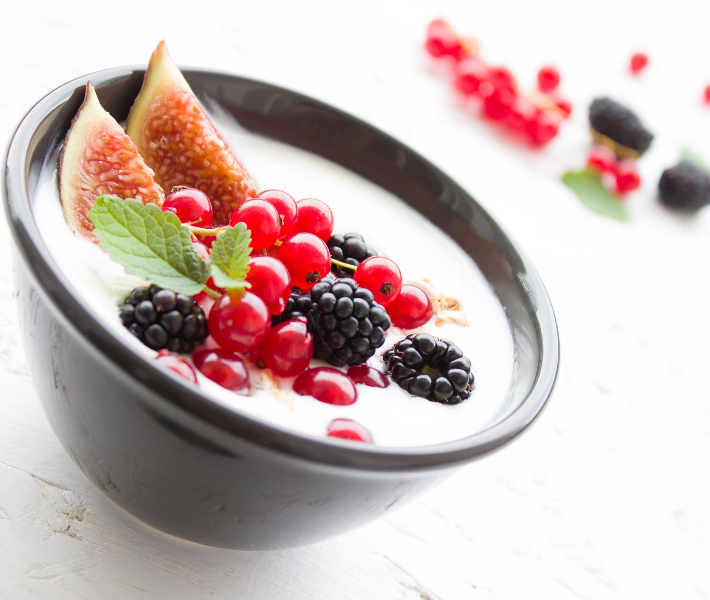 Bowl of fruit and yoghurt - healthy eating is more popular on river cruise ships