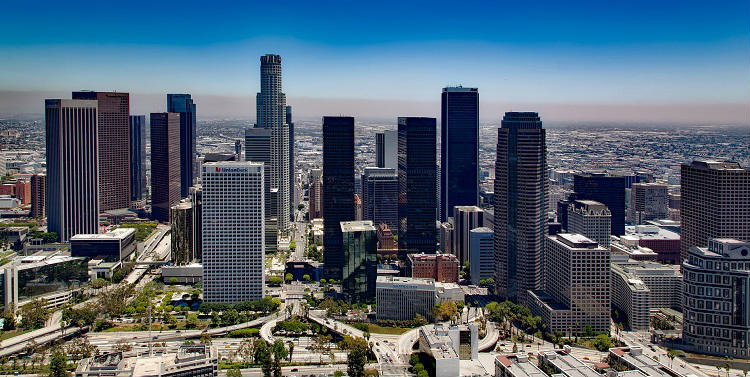 Picturesque shot of the Los Angeles skyline