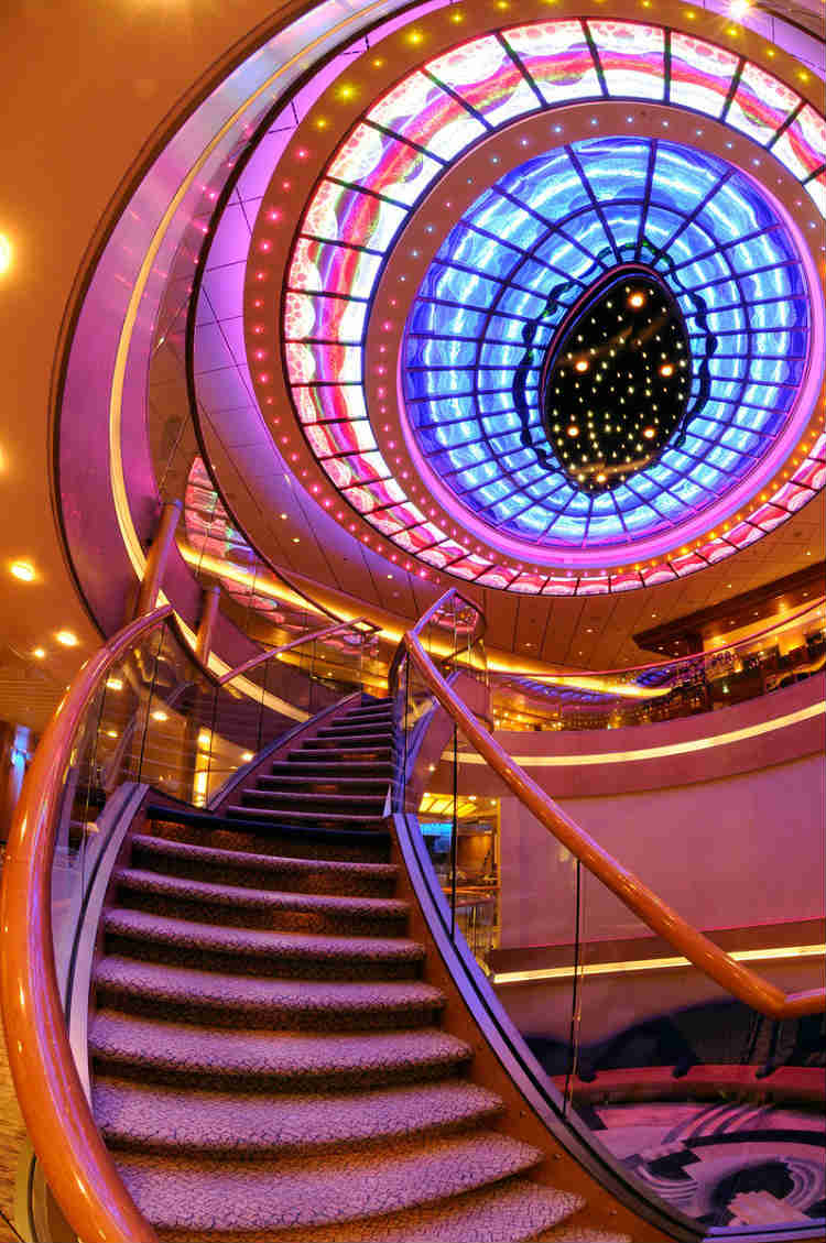 Tiffany glass atrium on-board P&O's cruise ship Atrium