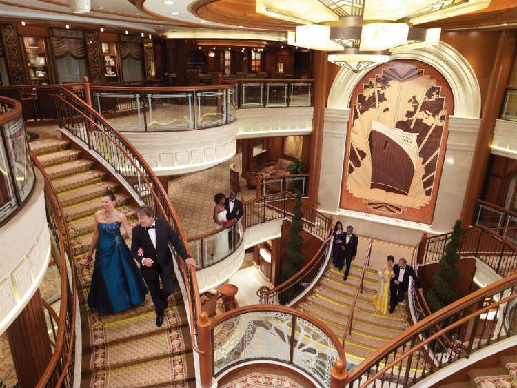 Grand lobby on-board Queen Elizabeth, a current fleet member of Cunard