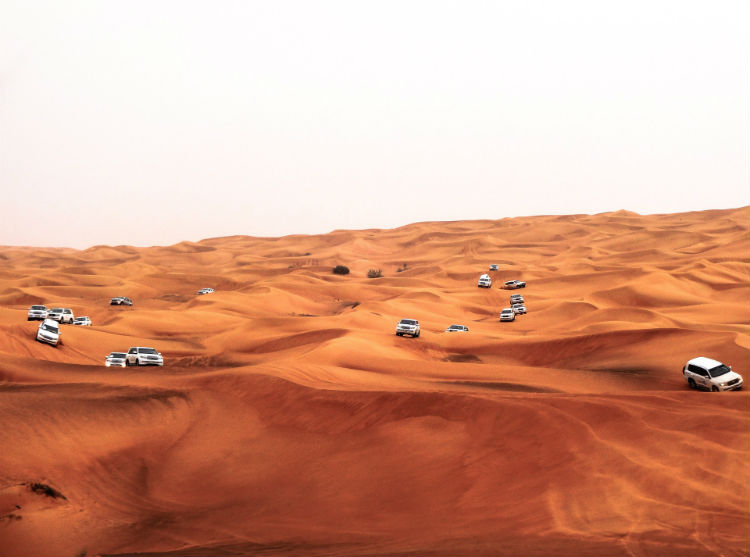 Cars on a sand-dune in Dubai - Middle East
