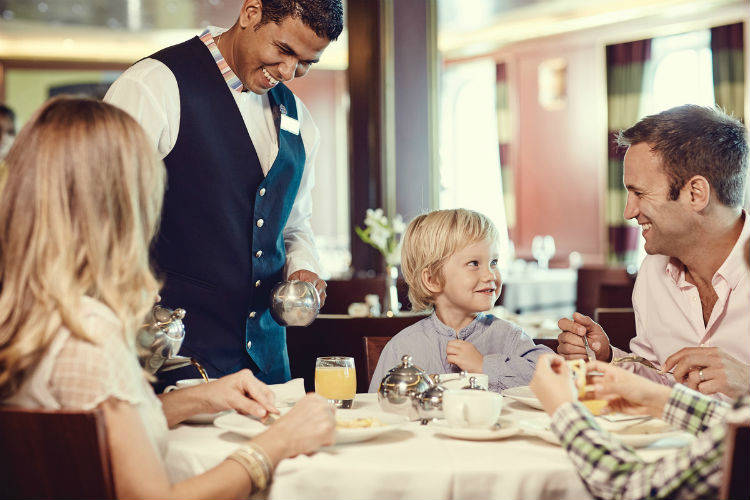 Waiter in a restaurant on-board P&O Cruises