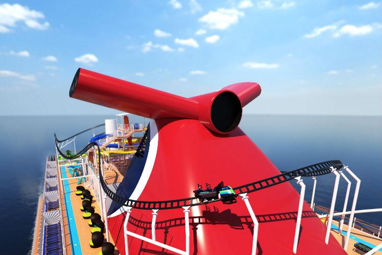Roller coaster on-board Carnival Mardi Gras