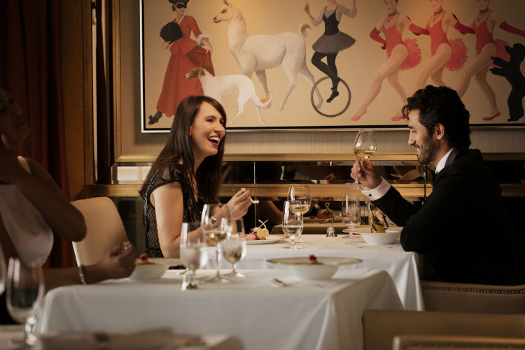 Couple at the Steakhouse at the Verandah - Cunard