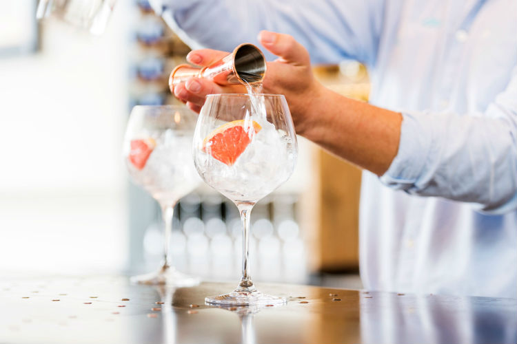 Gin pouring - Salcombe Gin partnership