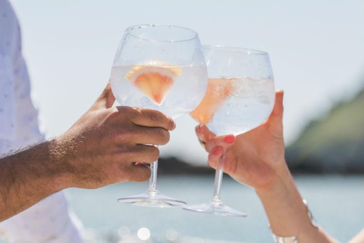 Gin glasses on-board P&O Cruises